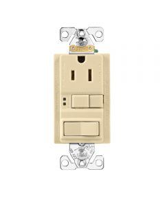 GCFI Receptacle and Switch, Self-Test, 15A, Ivory