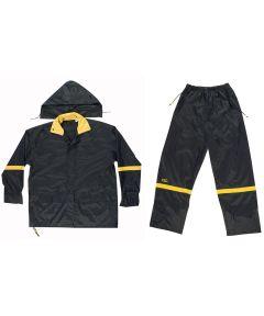 Medium Black Nylon Rain Suit Set