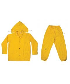 Xxl Yellow Polyester Rain Suit 3-Piece