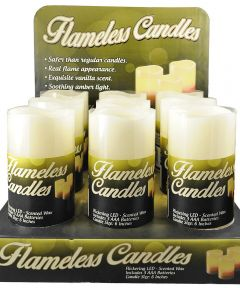 6 in. LED Vanilla Scented Pillar Flameless Candle