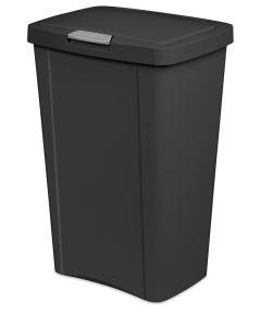 Sterilite 13 Gallon Plastic TouchTop Trash Can, Black