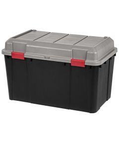 Hinged-Lid Utility Storage Trunk, Gray, 138 Quarts/34.5 Gallons