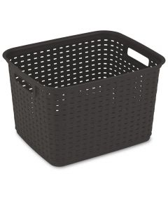 15 in. x 12.25 in. x 9.38 in. Tall Weave Basket Espresso