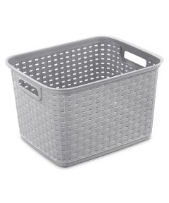15 in. x 12.25 in. x 9.38 in. Tall Weave Basket Cement