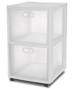 18 in. x 16 in. x 24.63 in. Clear And White Ultra 2-Drawer Cart