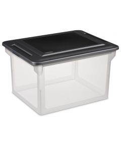 18.5 in. x 14 in. x 11 in. File Box Clear Base With Black Lid