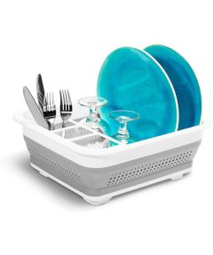 Collapsible Dish Rack, Gray / White