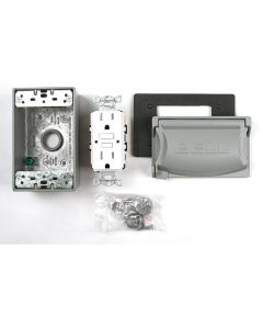 15A 120V Gray Weatherproof GFCI Outdoor Outlet Kit