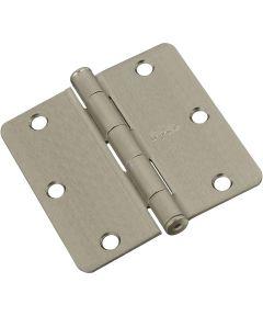Door Hinges 3-1/2 in. x 3-1/2 in. x 1/4 in. Radius, Satin Nickel, 3 pack