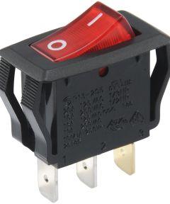 SPST Light Rocker Switch w/ Red Lens (20 Amp-125 Volt x 16 Amp-250 Volt)