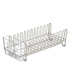 12.5 in. x 5.5 in. x 4 in. Satin/Clear Classico Compact Dish Drainer