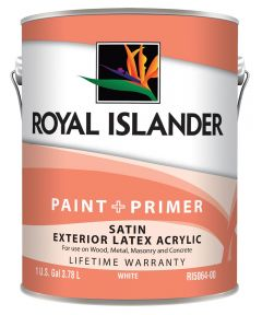 1 Gallon Exterior Satin White Base Paint + Primer