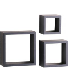 Shadow Box Decorative Shelf Kit 5, 7, 9 in. (L) x 4 in. (W), 50 lb, Wood, Floating Black