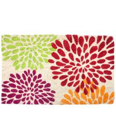 J & M Home Fashions Floral Mums Vinyl Back Coco Doormat 18x30