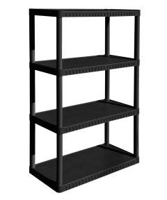 34 in. x 14 in. x 53 in. Black Resin 4-Tier Shelf