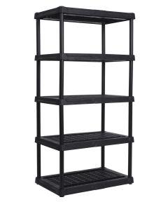 36 in. x 24 in. x 72 in. Black Ventilated Resin 5-Tier Shelf