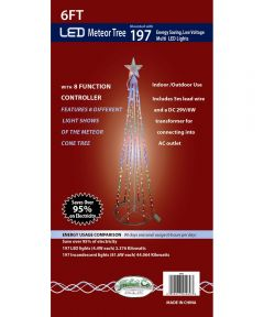 6 ft. Meteor Christmas Tree with Multi 197 Count LED Lights & 8 Function Controller