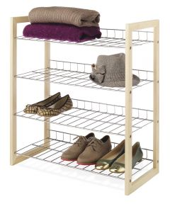 25 in. x 11.63 in. x 27.5 in. Natural Wood & Chrome Closet Shelves