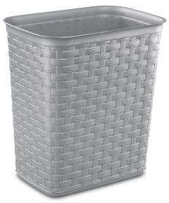 3.4 Gallon White Weave Wastebasket