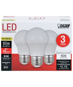 Feit Electric 6.5 Watt E26 A15 Warm White LED Non-Dimmable Light Bulbs
