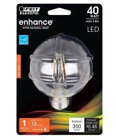 Feit Electric 3.8 Watt E26 G25 Clear Soft White LED Dimmable Light Bulb