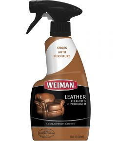 Leather Cleaner and Conditioner, 12 oz., Trigger Spray Dispenser, White Cream, Lemon, >93.3 deg C, 8.3 pH