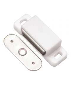 1-1/2 in. Small White Plastic Magnetic Cabinet Door Catch
