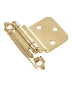 3/8 in. Inset Polished Brass Surface Self-Closing Hinges 2 Pack
