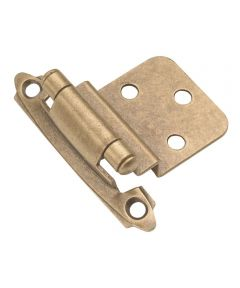 3/8 in. Inset Antique Brass Surface Self-Closing Hinges 2 Pack