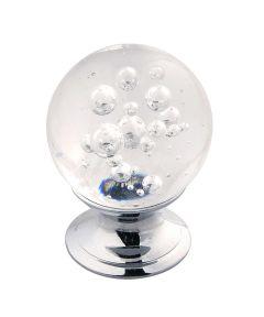 1-1/4 in. Round Clear/Chrome Glass Gemstone Cabinet Knob