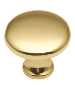 1-1/8 in. Round Polished Brass Conquest Cabinet Knob