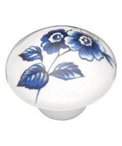 1-3/8 in. Round White/Blue Porcelain Poppy Flower English Cozy