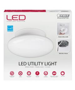Feit Electric 7.5 in. 11.5 Watt Round White LED Dimmable Utility Light