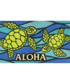 Aloha Welcome Mat, Honu Sea Glass