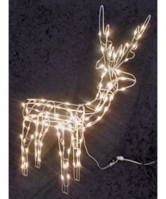 48 in. 3D Pre-Lit Christmas Wire Frame Standing Buck