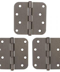 4 in. x 4 in. Antique Pewter Hinges 3 Pack