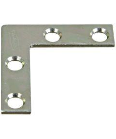 Brace Corner, Flat, Steel, 1.5X3/8 Zinc
