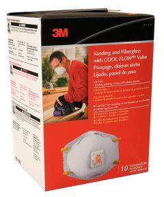 3M Sanding & Fiberglass N95 Respirator Mask with Cool Flow Valve, 10 Pack