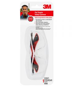 3M Clear Flat Temple Safety Glasses, Black & Red
