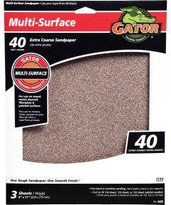 Gator 40 Grit Multi-Surface Extra Coarse Sandpaper, 11 in. x 9 in., 3 Pack