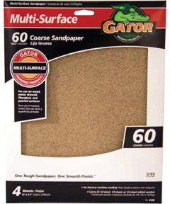 Gator 60 Grit Multi-Surface Coarse Sandpaper, 11 in. x 9 in., 4 Pack