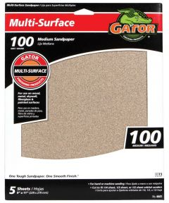 Gator 100 Grit Multi-Surface Sandpaper, 11 in. x 9 in., 5 Pack