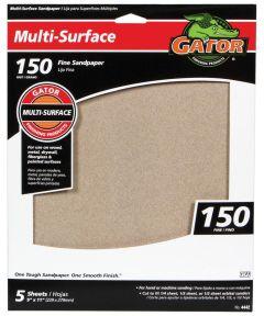 Gator 150 Grit Multi-Surface Sandpaper, 11 in. x 9 in., 5 Pack