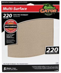Gator 220 Grit Multi-Surface Extra Fine Sandpaper, 9 x 11 in., 5 Pack