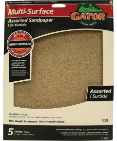 Gator Assorted Grit Multi-Surface Sandpaper, 11 in. x 9 in., 5 Pack