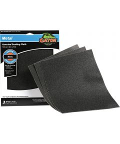 Gator Assorted Grit Sandpaper Sanding Cloth, 11 in. x 9 in., 3 Pack
