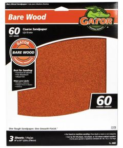 Gator 60 Grit Bare Wood Coarse Sandpaper, 11 in. x 9 in., 3 Pack