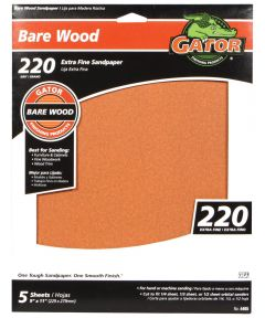 Gator 220 Grit Bare Wood Extra Fine Sandpaper, 11 in. x 9 in., 5 Pack
