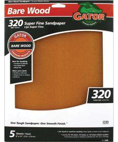 Gator 320 Grit Bare Wood Super Fine Sandpaper, 11 in. x 9 in., 5 Pack