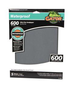 Gator 600 Grit Waterproof Ultra Fine Sandpaper, 11 in. x 9 in., 5 Pack